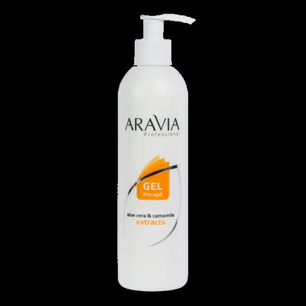 ARAVIA Professional Гель для обработки кожи перед депиляцией с экстрактами алоэ вера и ромашки 300мл.